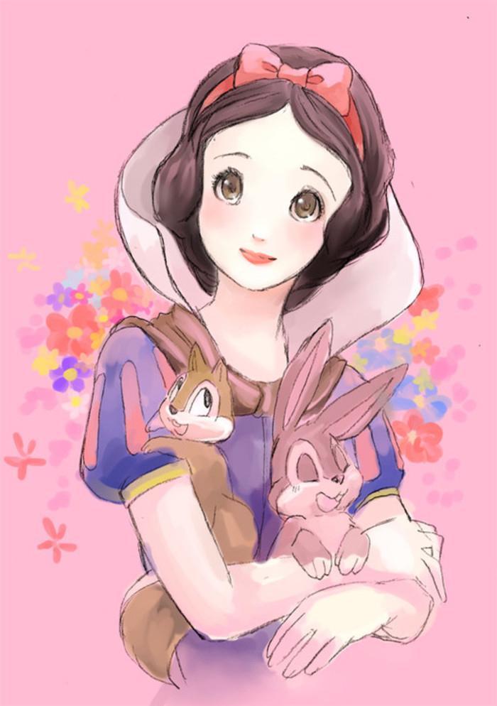 白雪公主学化妆壁纸