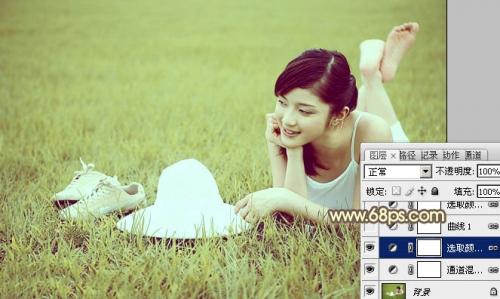 Photoshop给草地美女图片增加柔和的粉黄色