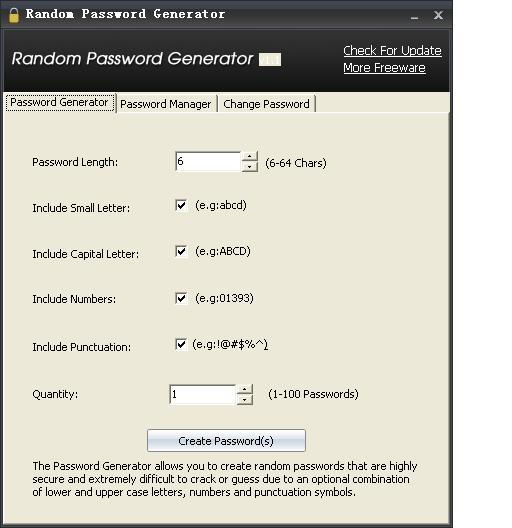 Random Password Generator的使用方法。