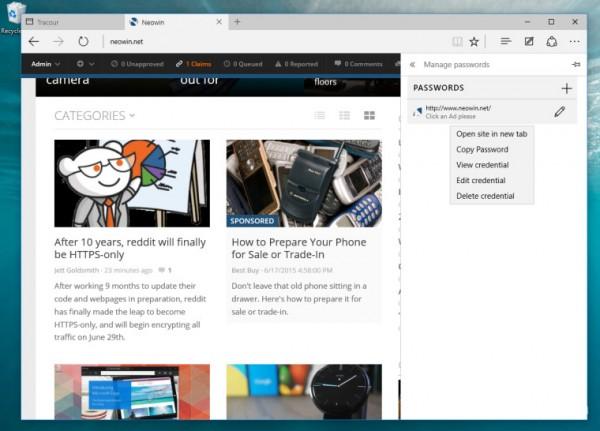 Edge浏览器新功能曝光:支持账号密码管理